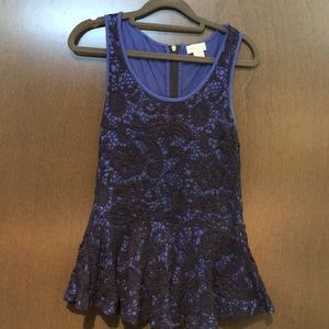 Dark blue layered laced dressy top for sale.